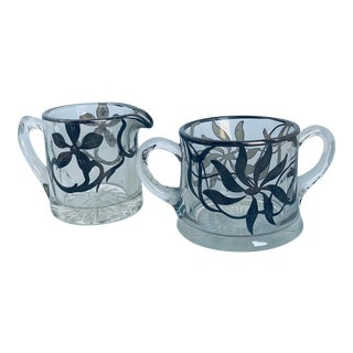 Antique Sterling Silver Floral Overlay on Pressed Glass Cream & Sugar Set - Set of 2 For Sale