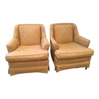 Mid Century Upholstered Damask Arm Chairs - a Pair