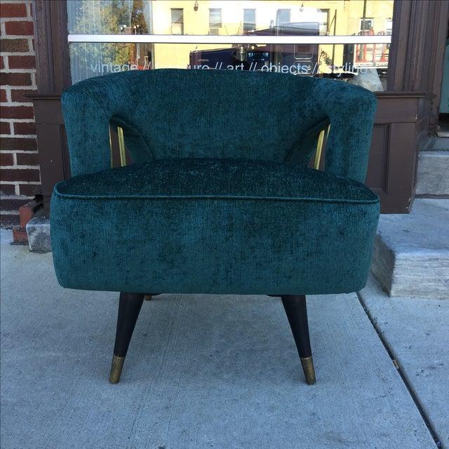 Mid-Century Green Velvet Brass Swivel Chair - Image 5 of 5