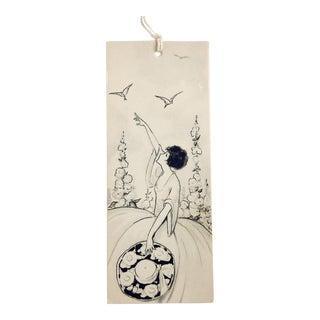 Vintage Art Deco Lady Birds Black & White Bridge Tally Cards - Set of 7 For Sale