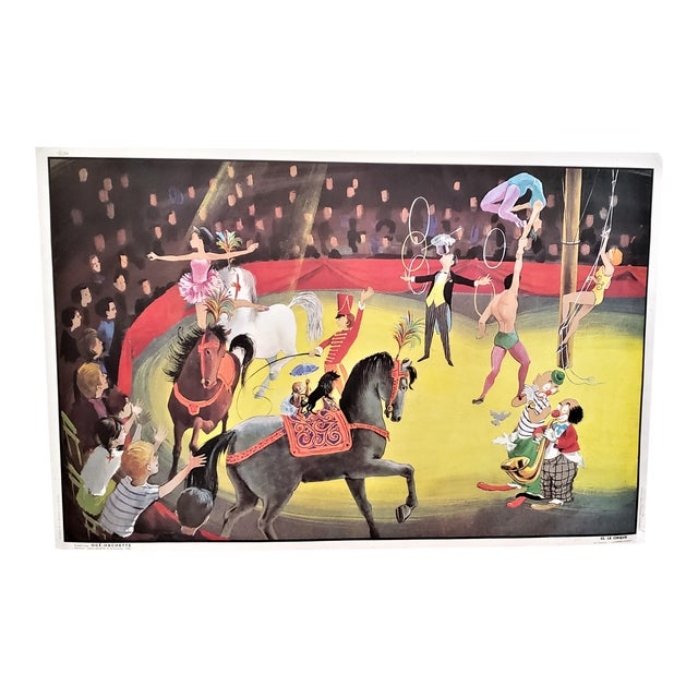 Mid-Century French Double Sided School Poster-Circus, Boy's Room For Sale