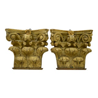 19th Century French Gilt Wooden Architectural Carvings - a Pair For Sale