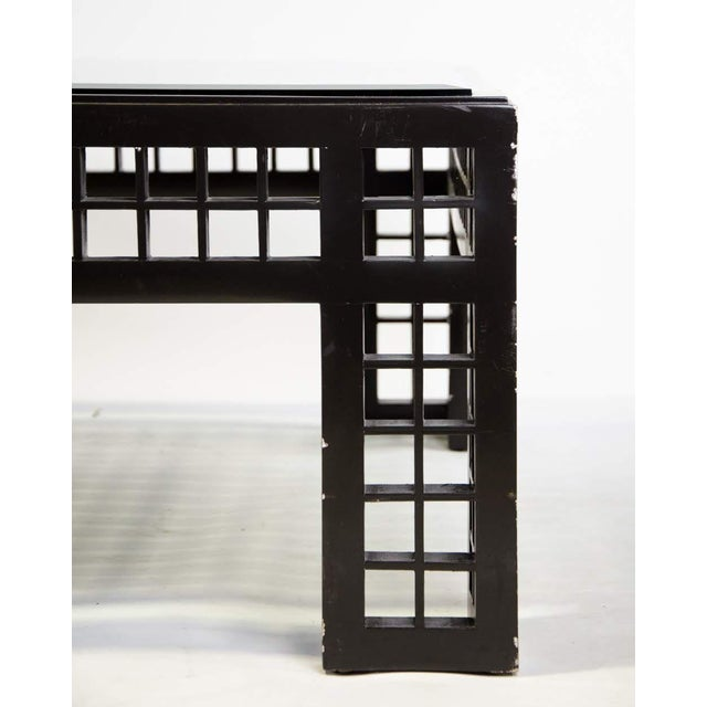 Black Contemporary Glass Inset Lattice Form Coffee Table For Sale - Image 8 of 11