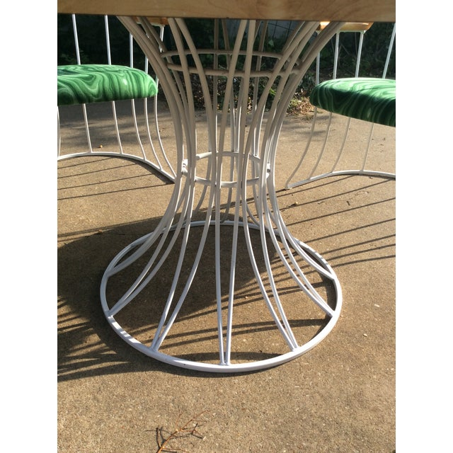 Industrial Restored Mid-Century Platner Style Round Table & Chairs For Sale - Image 3 of 12