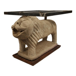 Pair 1970s Figurative Carved Lion Sandstone Side Table For Sale