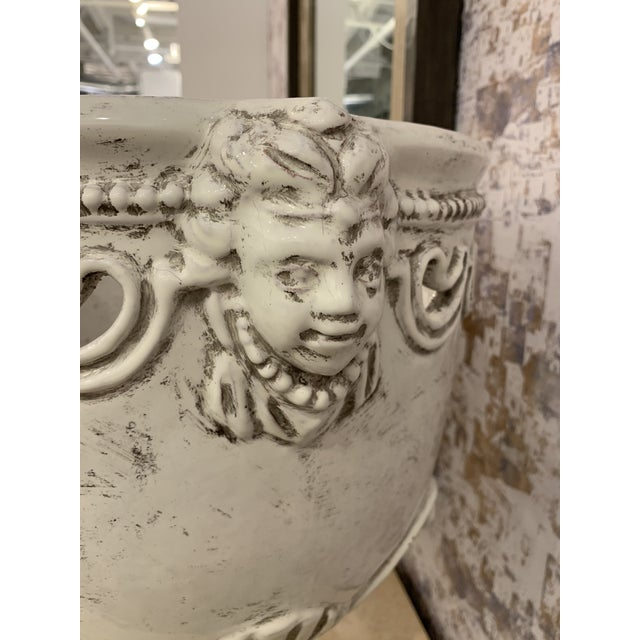 Italian 1980s Vintage Large White Italian Urns- A Pair For Sale - Image 3 of 9