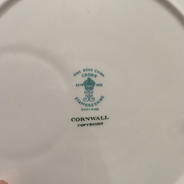Staffordshire Cornwall Scalloped Teacup Dessert Plates - Set of 4 For Sale - Image 5 of 7