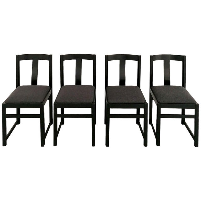 1970s Set of Four Chairs in the Style of Alfons Milà, Ash, Fabric - Barcelona For Sale - Image 9 of 9