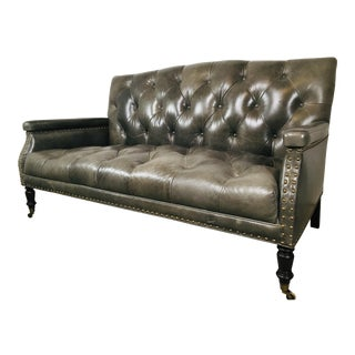 21st Century Vintage Style Leather Tufted Sofa For Sale