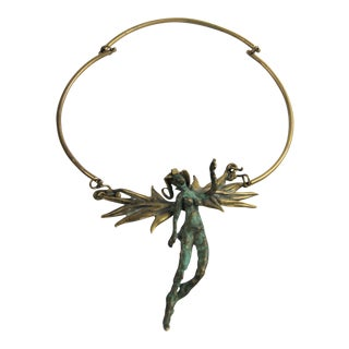 Bronze & Brass Brutalist Angel Necklace Kepenyes Tasha Era For Sale