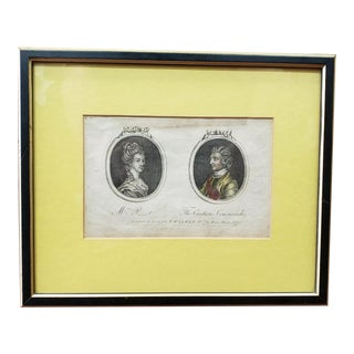 1778 English Cameo Portrait Engraving of Mrs. P_t and the Cautious Commander by T. Walker For Sale