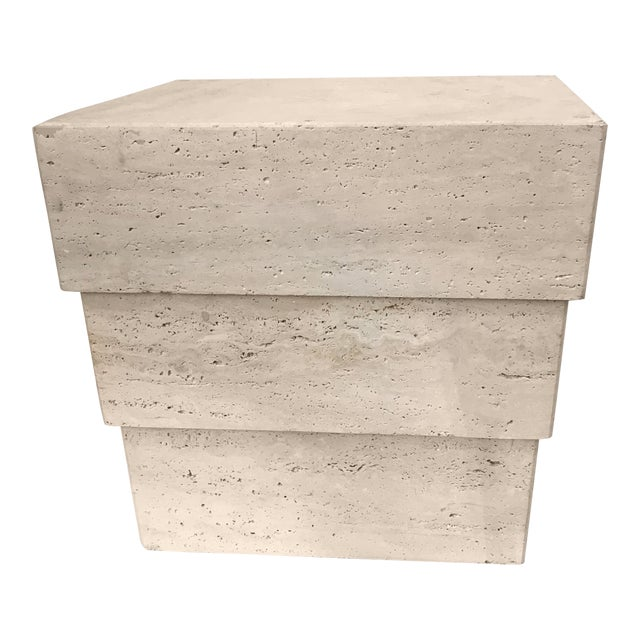 1970s Mid-Century Modern Stacked Travertine Occasional Table For Sale