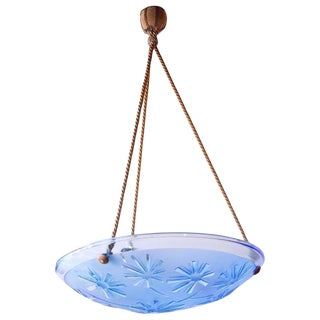 Early 20th Century Antique French Art Deco Blue Glass Pendant Fixture For Sale