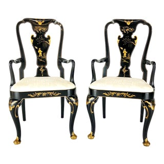Late 20th C. Vintage Baker Knapp & Tubbs Historic Charleston Chinoiserie Chairs- A Pair For Sale
