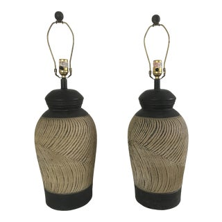 Ceramic Urn Lamps - a Pair For Sale