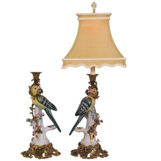 Majolica Style Candelstick Lamps - a Pair For Sale