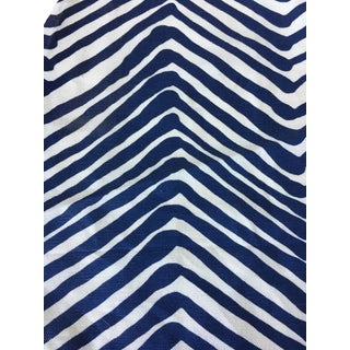 Quadrille Alan Campbell Navy Zig Zag Fabric Remnant For Sale
