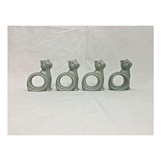 Ironstone Celadon Cats Napkin Rings - Set of 4 - Image 2 of 9