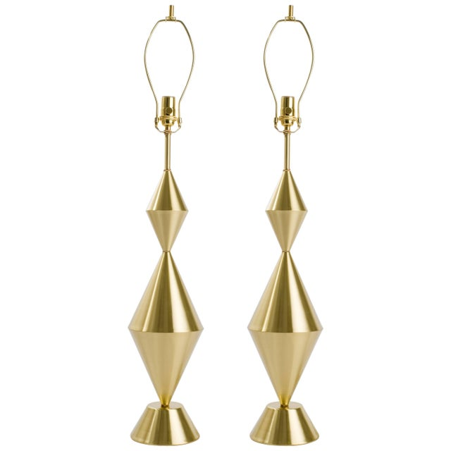 Not Yet Made - Made To Order Pair of Fashioned by Hand Conical Brass Lamps For Sale - Image 5 of 5
