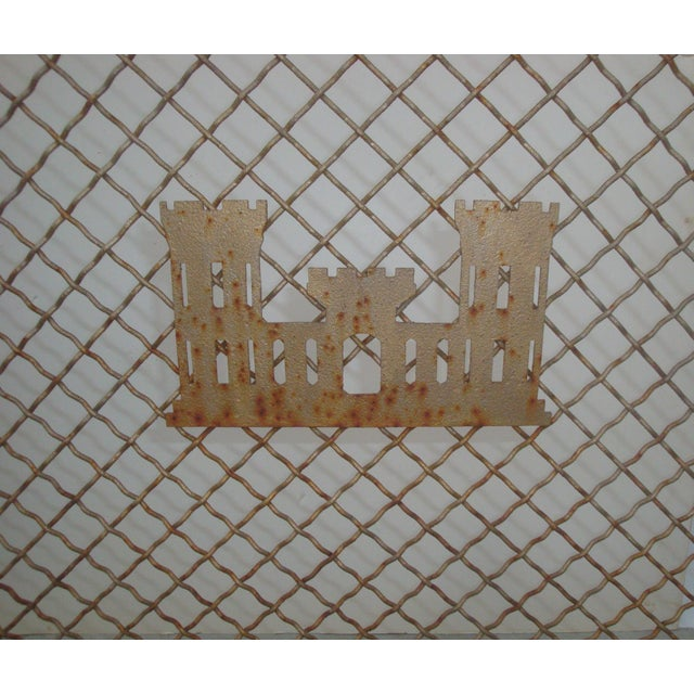 Arts & Crafts Handforged Iron Fireplace Screen With Castle Emblem For Sale - Image 3 of 6