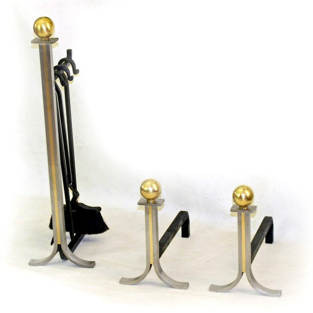 1950s French Brushed Steel and Brass Fireplace Andiron Set - 5 Pieces For Sale - Image 4 of 11