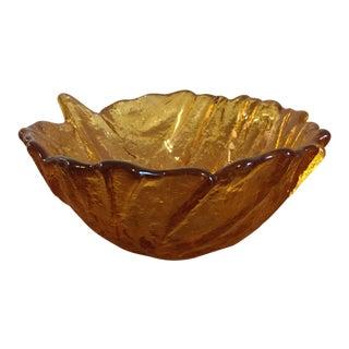 Blenko Lettuce Style Amber Glass Bowl