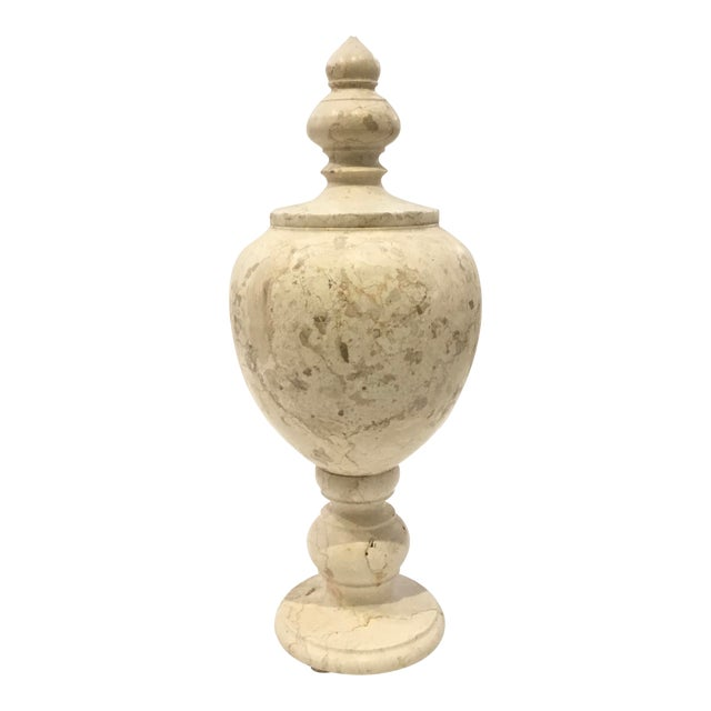 Modern Large Beige Marble Vessel/Urn With Finial Lid For Sale