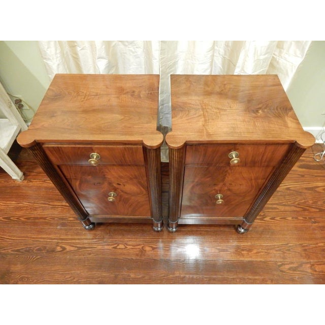 Mid 19th Century Pair of 19th C Charles X French Walnut Bedside Cabinets For Sale - Image 5 of 11