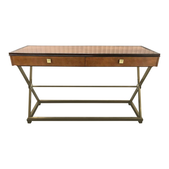 Vintage Hickory-White Burl and Brass Console For Sale