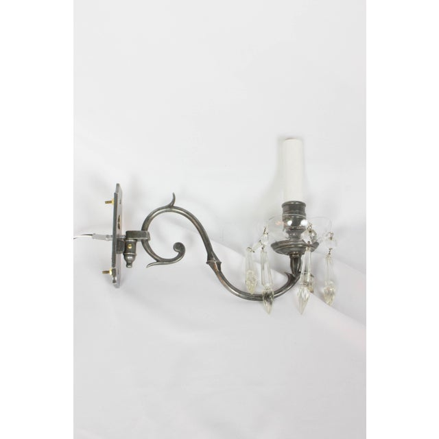 Art Nouveau Antique Silver and Crystal Sconces - a Pair For Sale - Image 3 of 10
