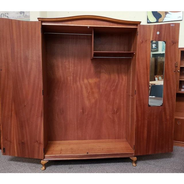 Vintage Walnut Double Door Armoire c.1940 Great Extra Closet – Plenty of Room for Hanging – Interior Mirror & Shelf 50″...