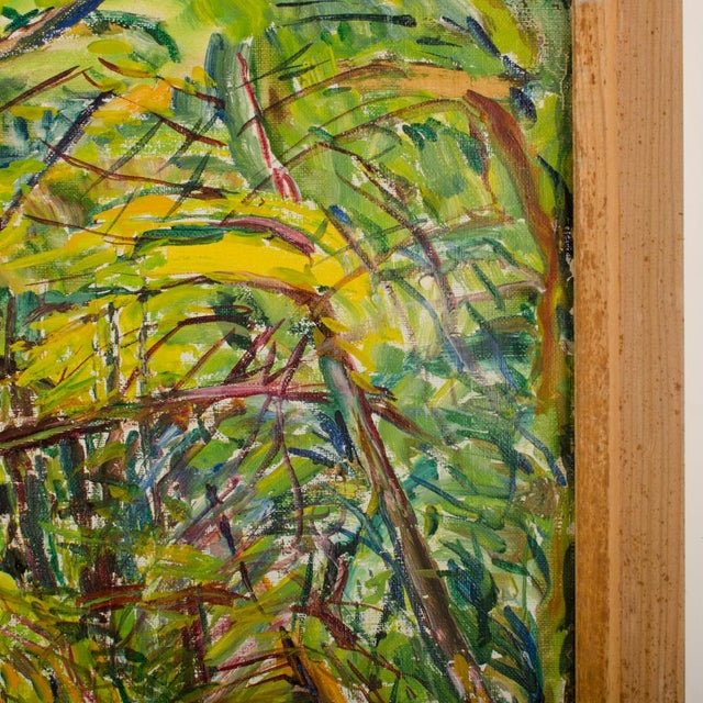 """Mid 20th Century """"Allee"""" Expressionist Style Forest Landscape Oil Painting by Elisabeth Merlicek, Framed For Sale - Image 9 of 13"""