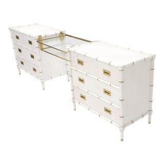 Pair of White Lacquer Brass Hardware Bachelor Chest with Suspended Brass Vanity For Sale