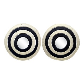 Matching Vintage Hand Made Striped Textile Bullseye Wall Mirror - a Pair For Sale