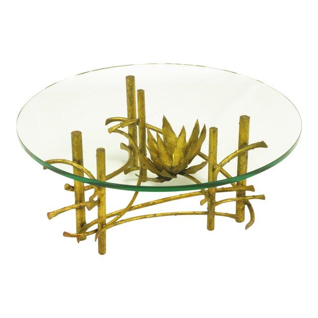 Brutalist Gilt Iron Lotus Coffee Table For Sale