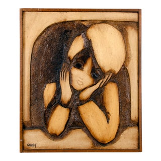 Jean Claude Gaugy Carved Wood Painting For Sale