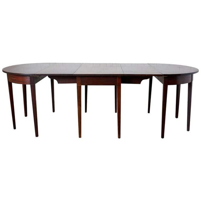 English Hepplewhite Mahogany Dining Table With Demilunes For Sale - Image 13 of 13