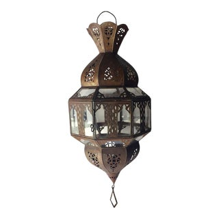 Handcrafted Moroccan Metal and Glass Lantern, Octagonal Shape For Sale