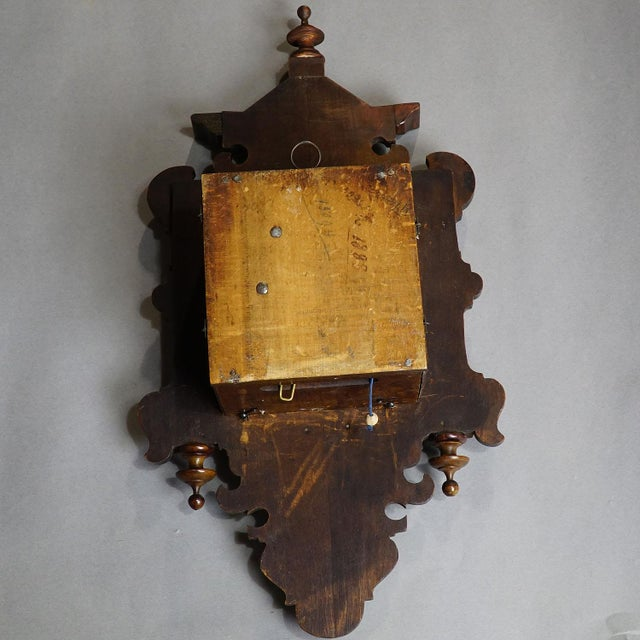 Antique Wooden Carved Wall Clock With Brass Applications
