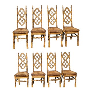 Set of Eight Antique French Country Quarter Sawn Oak & Rush Dining Chairs For Sale
