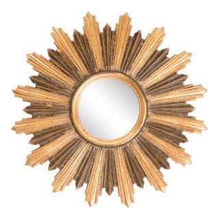 Mid Century Italian Gilt Wood Sunburst Mirror For Sale