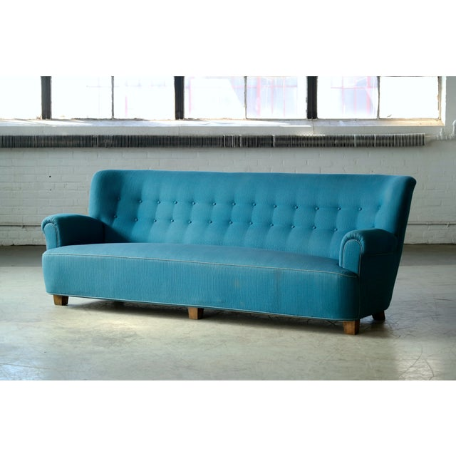 Viggo Boesen Danish Midcentury Boesen Style Large Four-Seat Danish Sofa, 1940s For Sale - Image 4 of 11