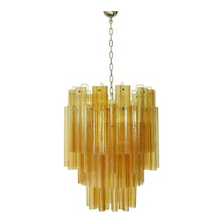 Amber Murano Glass Tubes Chandelier by Venini For Sale
