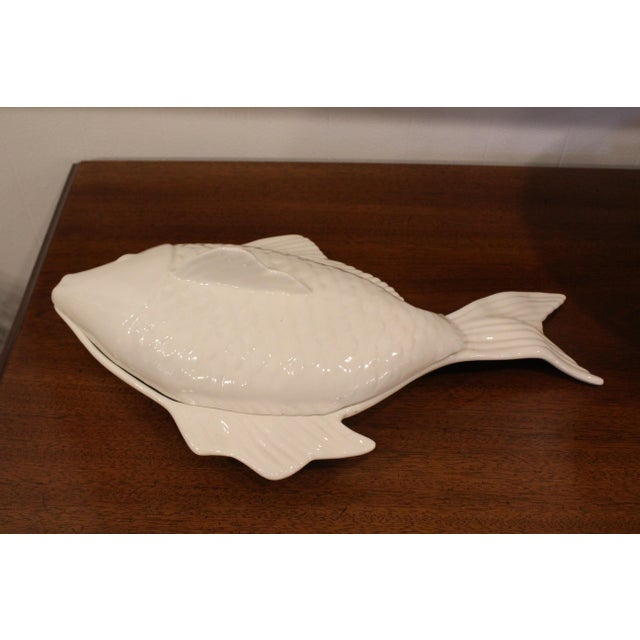 1960s Covered Pottery Glazed White Fish Platter For Sale - Image 4 of 8