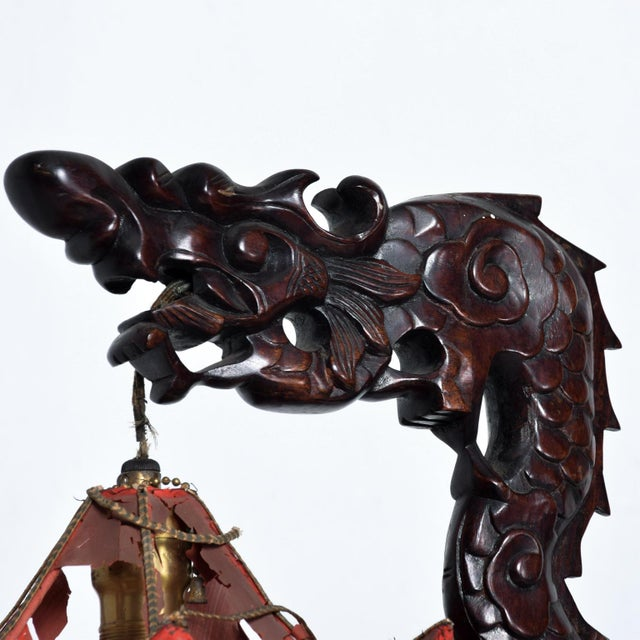 1920s Fine Antique Chinese Rosewood Dragon Table Lamp Pagoda