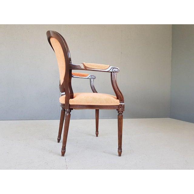 Louis XVI Velvet Upholstery Arm Chair For Sale In New York - Image 6 of 13