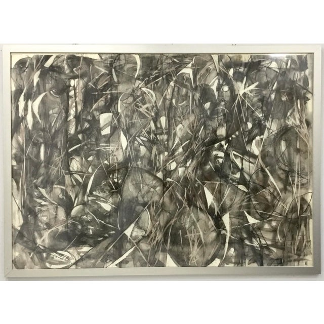 Amazing and very expressive work of art . Ink wash and charcoal on paper or parchment in brushed aluminum frame. Monogram...