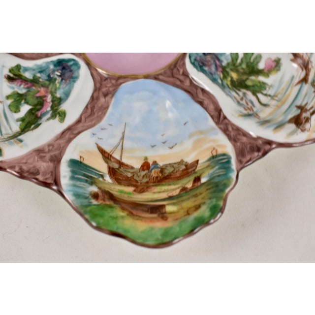 French Porcelain Hand-Painted Fishing Scene Oyster Plate For Sale In Philadelphia - Image 6 of 13