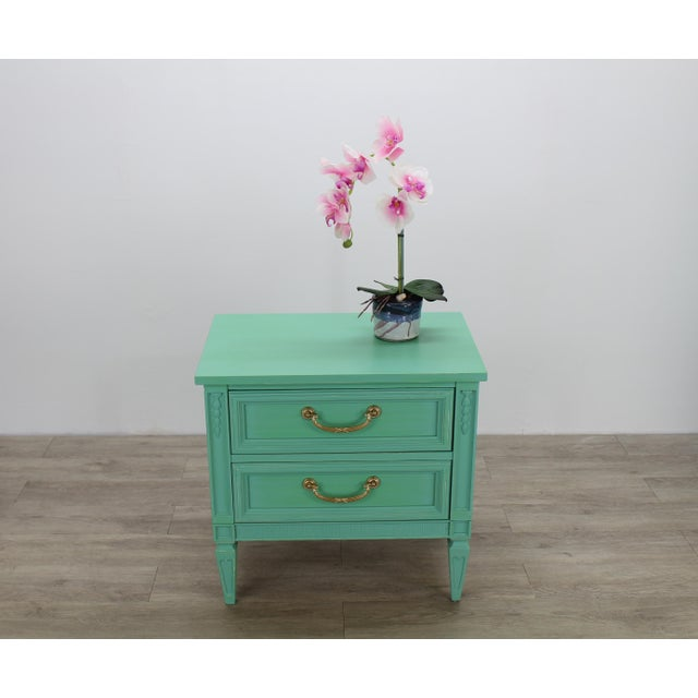 Mid Century Neoclassical Style Nightstand, Green Nightstand For Sale - Image 9 of 11