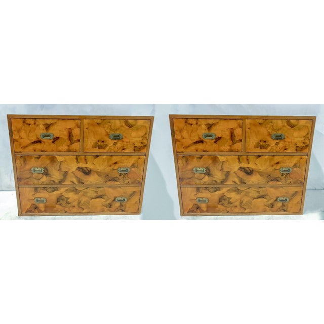 Campaign Pair of Patchwork Burl Campaign Style Chests For Sale - Image 3 of 6